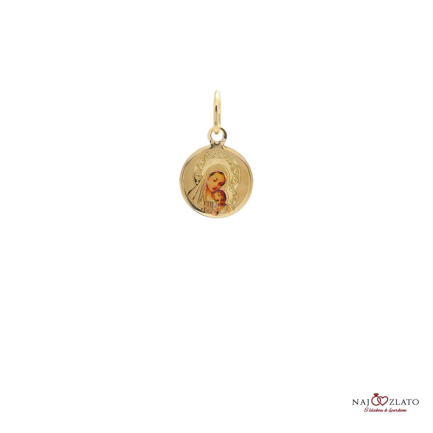 Reálná fotografie produktu detail photo. Zlatý medailonek panny Marie ... 454ccd9f0e7